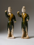 Pair of Sancai Glazed Grooms by Bellarmine Museum of Art